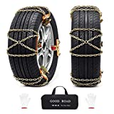 8 pieces snow chains quick assembly car anti-slip chains with tensioner, rear wheel drive all-wheel universal ...