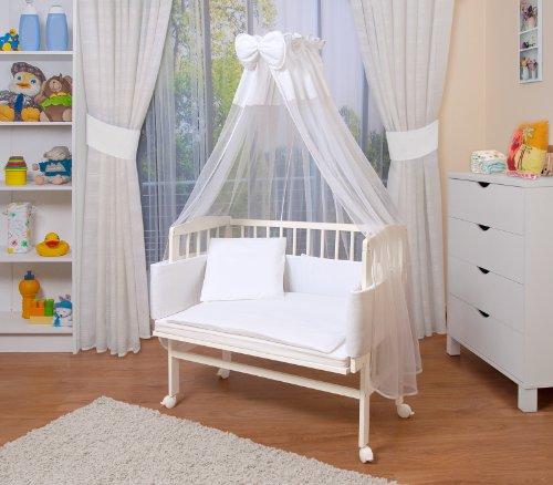 WALDIN Baby Beistellbett mit Matratze und Nestchen, höhen-verstellbar, 16 Modelle wählbar, Buche Massiv-Holz weiß lackiert,Große Liegefläche...