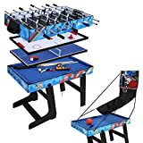 hlc 5 in 1 multi-functional table game table football / ping-pong / air hockey / billiards / basketball game