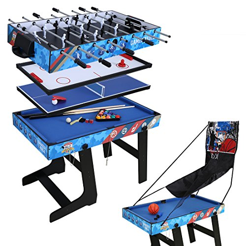 hlc 5 in 1 multifunknierte Tischspiel Tischfuball/Tischtennis/Air Hockey/Billard/Basketballspiel