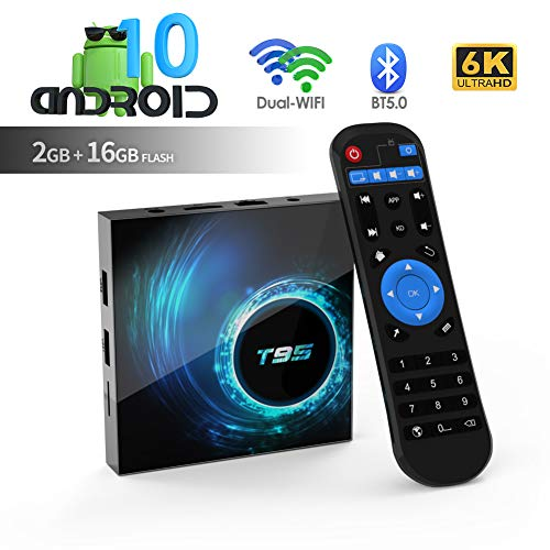 T95 Android 10.0 TV Box, Allwinner H616 Quadcore 2 GB RAM 16 GB ROM Mali-G31 MP2-GPU-Unterstützung 6K 3D 1080P 2.4/5.0 GHz WiFi 10 /100M Ethernet...