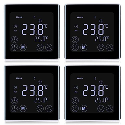 4x Floureon Raumthermostat BYC17.GH3 Thermostat LCD Touchscreen Mit weißer Hintergrundbeleuchtung Wandthermostat Digital Smart Programmierbares...