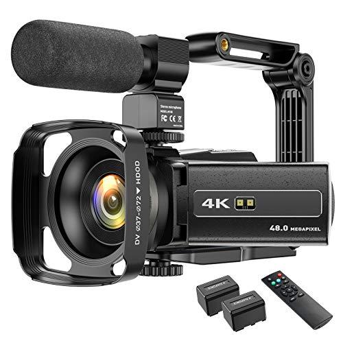 4K Camcorder Videokamera WIFI 48MP IR Nachtsicht Vlogging Kamera, 16 x...