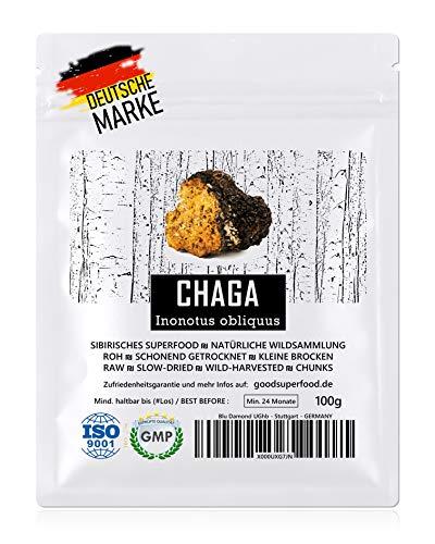 CHAGA (Sibirisches Superfood) - Natürliche Wildsammlung | TOP-Qualität vom Original | GMP + ISO-9001-zertifiziert + laborgeprüft | roh vegan +...