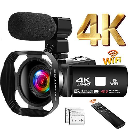 Camcorder 4K 48MP Videokamera 18X WiFi YouTube Kamera IR Nachtsicht Camcorder...