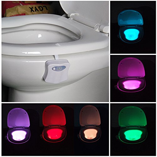 Toilette WC Nachtlicht Led Lampe WC-Beleuchtung Batteriebetriebene Badezimmer Motion Sensor Beleuchtung Toilettenlicht Badezimmer Licht Batterie 8...