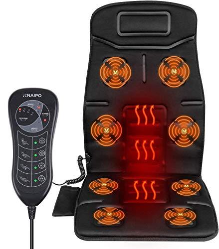 Naipo Massagesitzauflage Rücken Massagegerät Massagesitzauflagen Vibrations Massagesitzkissen Massage Matte mit Vibration Wärme 8 Motorvibrationen...