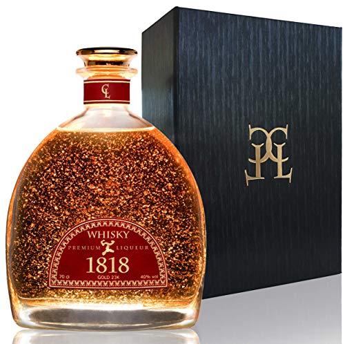 Single Malt Scotch Whisky 1818 Geschenk - Premium Liqueur 23-Karat Deutsches Blattgold - Schottischer Whiskey Geschenkset für Männer Mit...