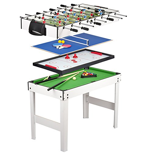 Leomark Multigame Holz Spieltisch - weiße Farbe - Tischfußball, Billard, Hockey, Tischtennis, 4in1 Multifunktionstisch Multiplayer Inkl. komplettem...