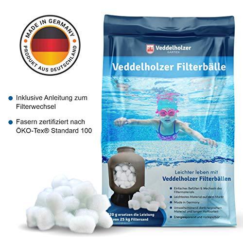 Veddelholzer Pool Filterbälle 320g für Leistung von 25kg Filtersand/Quarzsand, Made in Germany, Poolzubehör Poolreiniger für Sandfilteranlagen,...