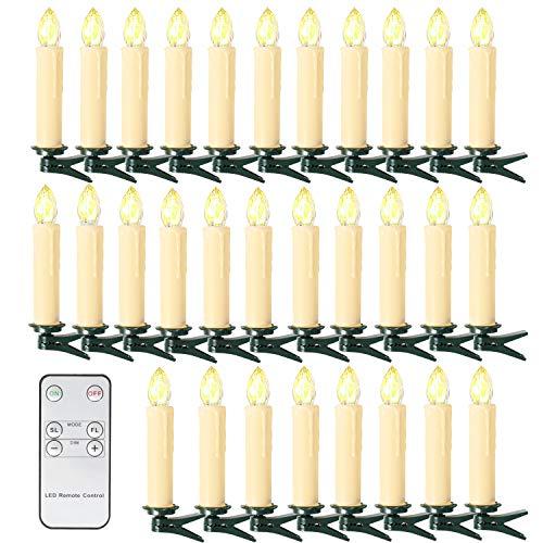 10/20/ 30/40 er Weinachten LED Kerzen Lichterkette Kerzen Weihnachtskerzen...