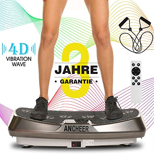 ANCHEER Vibrationsplatte 4D Fitness Dual-Motor Vibrationsplatte,Vibrationsgerät mit Großer Rutschsicherer Trainingsfläche, Curved Design & LCD...