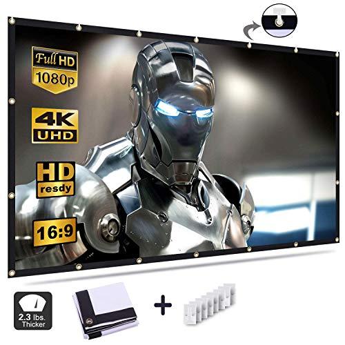 Beamer Leinwand, 84 Zoll HD Projektion Leinwand - Keine Falte tragbare Tasche Projektionswand Unterstützung Doppelseitigen Projektion für Heimkino...
