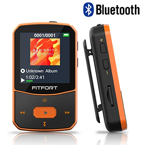 MP3 Player Bluetooth 4.1 Sport - Verlustfreier Sound FM Radio,Sprachaufzeichnung,E-Book und andere Funktionen,Unterstützt bis 128GB SD Karte...