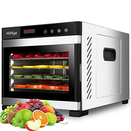 MiMiya Dörrautomat Edelstahl Dörrgerät mit 6 Etagen Digitaler LED Temperaturregler & Timer, Food Dehydrator für Lebensmittel Obst Fleisch Früchte...