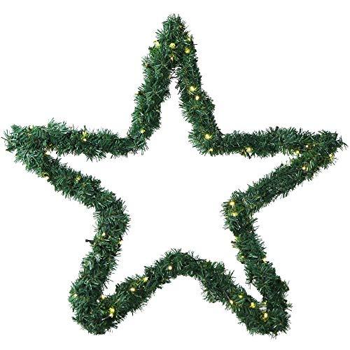 Weihnachtsstern 60 cm aussen beleuchtet aus Metall mit Girlande von 80 LED...