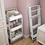 ACXZ serveringsvogn med 3 hyller som kan brette kjøkkenvogner, ...