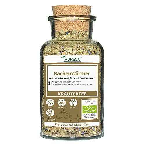 AURESA Kräutertee Rachenwärmer im Glas | Würziger Kräuter Tee - 80g |...