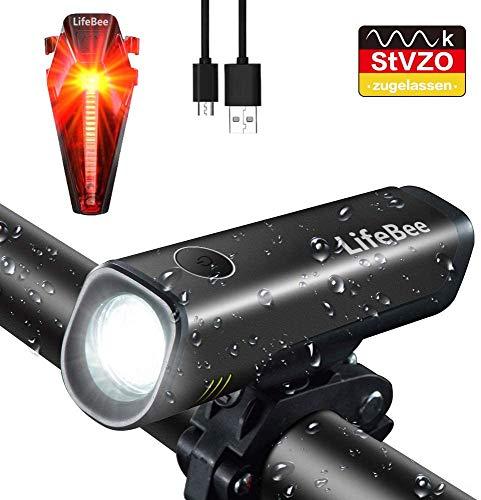 ANSMANN LED Akku Fahrradlicht Set StVZO IPX4 LED Frontlicht + LED Rücklicht
