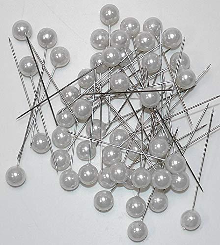 50 agujas de perlas las agujas perlas 10mm rosas agujas dekonadeln alfileres blanco