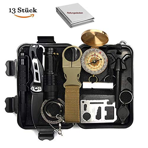 N.MAX Survival Kit 13 in 1, Rettungshilfe professionelles Survival kit mit Klappmesser, Kompass, Taschenlampe, Whistle, Tactical Pen, Rettungsdecken...