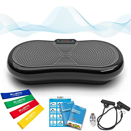 Bluefin Fitness Ultraflache Vibrationsplatte mit Leisem 1000-Watt Motor | LCD Display & Bluetooth Lautsprecher | 5 Trainings-Programme - 180 Level |...