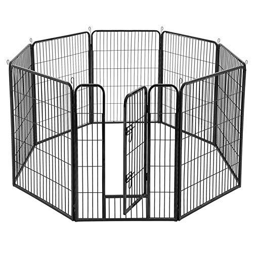Welpenauslauf Laufgitter Welpenlaufstall Hundegehege Laufstall Tierlaufstall Welpenk/äfig Absperrgitter Freilaufgehege Welpenzaun 16-Eck F/ür Hund Katze Welpe Kaninchen kleine Haustiere schwarz+grau
