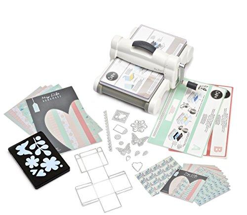 Sizzix Big Shot Plus Starter Kit, Manuelle Stanz- und Prägemaschine mit Bigz L, Thinlits und Framelits Plus-Schablonen, Cardstock und Stoff, Größe...