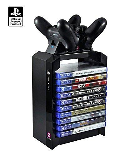 Offiziell PS4-Controller-Ladegerät, Spiele-Speicherturm + Dual-Ladegerät. Schnellladung von zwei Controllern gleichzeitig-EU PLUG