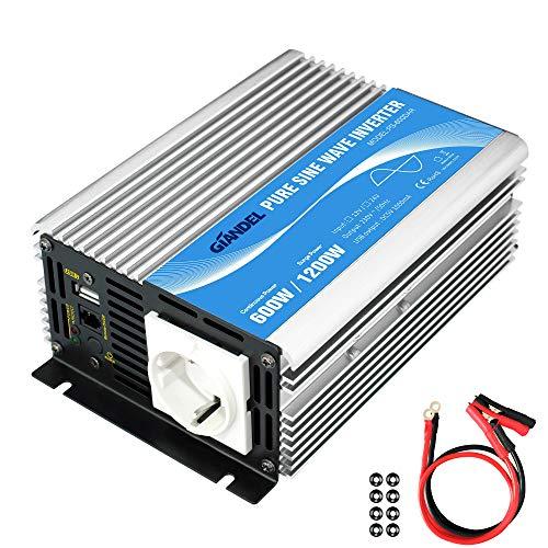 600W Wechselrichter Reiner Sinus Spannungswandler 12V auf 230V Power Inverter...