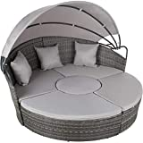 TecTake 800764 High-quality XXL aluminum poly rattan sun island with a folding sunroof, lounge sun lounger including cushions and cushions, ...