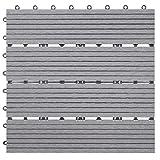 Mendler WPC floor tile Rhone, wood look balcony / terrace, 11x 30x30cm each = 1sqm ~ base, gray linear