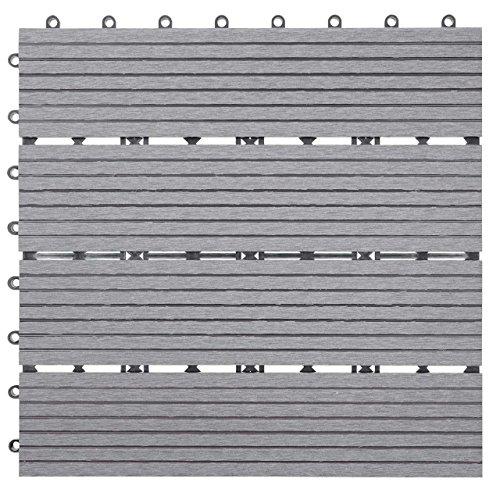 Mendler WPC Bodenfliese Rhone, Holzoptik Balkon/Terrasse, 11x je 30x30cm = 1qm...