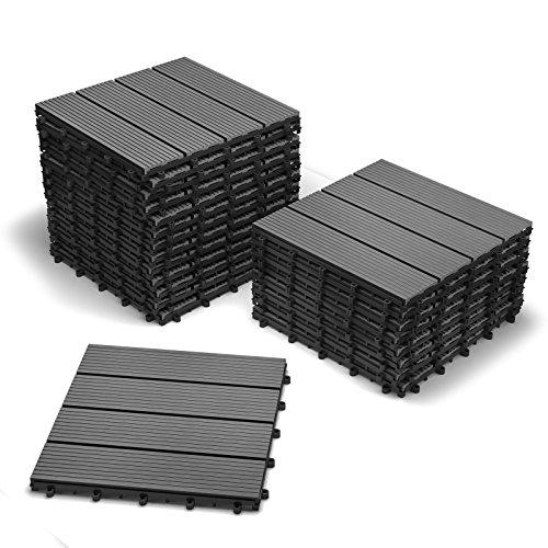 SAM Terrassen-Fliese WPC Kunststoff, 22er Spar Set für 2m², anthrazit-grau, Garten Bodenbelag, Drainage, Klick-Fliesen