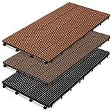 casa pura WPC Terrace Tiles Prestige | Decking 60x30 cm | click tile in wood optics | Test grade GOOD | individually or in a set | Dark brown (11 ...