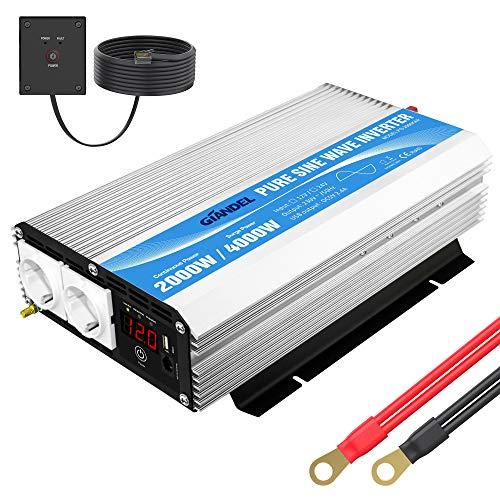 Spannungswandler 12V 230V 2000W Reiner Sinus Wechselrichter Power Inverter mit...