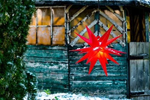 Novaliv Weihnachtsstern 3D LED Rot 55 cm 18 Zacker Kunststoffstern Dekostern...