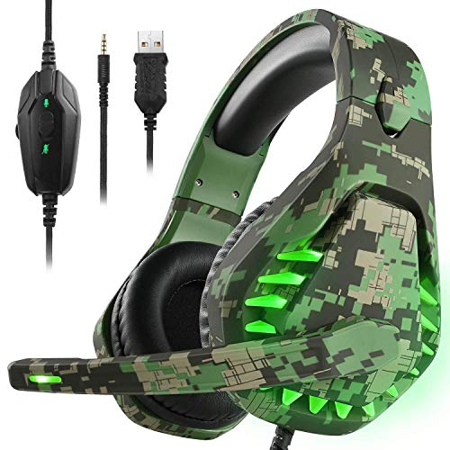 Gaming Headset für PS4 Xbox One PC Kopfhörer mit Mikrofon LED Licht Noise Cancelling Over Ear Kompatibel mit Nintendo Switch Games Laptop Mac PS3...
