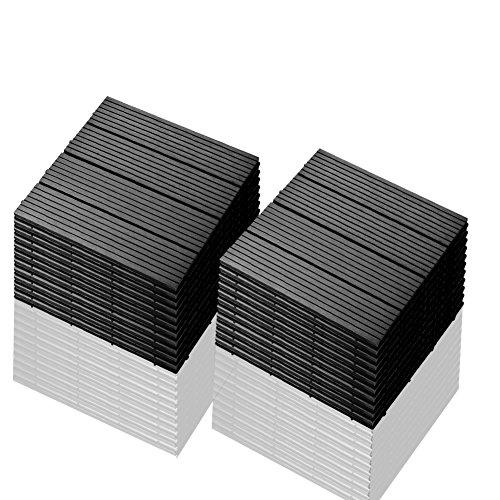 SIENOC 22 Stück/ca. 2m² Terrassen-Fliese aus WPC Kunststoff, 22er Spar Set für 2 m², Garten-Fliese, Balkon Bodenbelag mit Drainage...