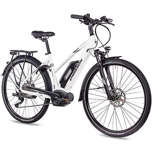 CHRISSON 28 Zoll Damen Trekking- und City-E-Bike - E-Actourus Weiss matt - Elektro Fahrrad Damen - 10 Gang Shimano Deore Schaltung - Pedelec mit Bosch...