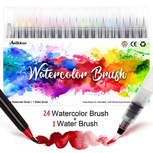 Amteker Pinselstifte Aquarell - 24+1 Brush Pen Set Handlettering Stifte Set,...