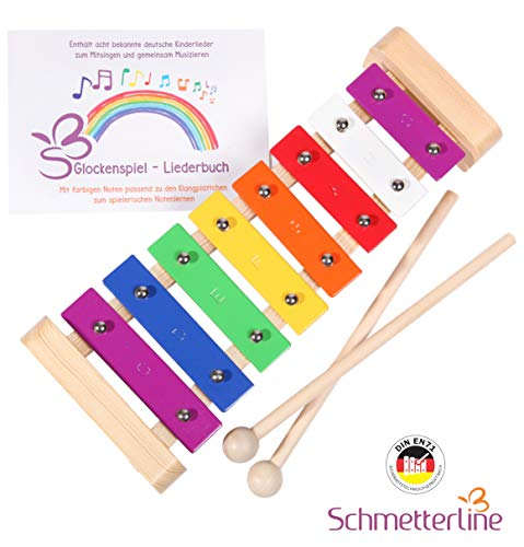 SCHMETTERLINE Glockenspiel für Kinder aus Holz – Harmonisches Xylophon mit Notenbuch und Holz-Schlägeln – Musikinstrument ab 3 Jahren mit...
