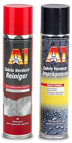 PRAKTISCHES PREMIUM SET A1 Dr Wack 400ml CABRIO VERDECK-REINIGER Schaumreiniger & 400 ml VERDECK-IMPRÄGNIERER Nässeschutz Schmutzschutz für...