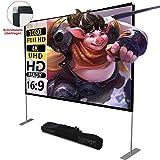 Projektion Leinwand mit Stand 100 Zoll HD 4K Outdoor Indoor Projector Screen Schnelles Falten Tragbare Filmleinwand 16: 9 Full-Set-Tasche für...