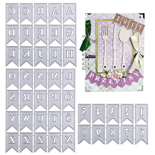 VINFUTUR 2 Set Stanzschablonen Buchstaben und Zahlen Etikett, Metall...