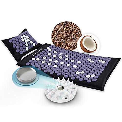 Sportstech Akupressurmatte AXM400 mit Kissen   ideal im Set Massage Matte + Akupressur als perfektes Geschenk für Frauen   für wohltuende...
