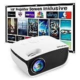 Mini Beamer 5500 L, NICPOW Heimkino Beamer mit Screen, Support 1080P Full HD mit...