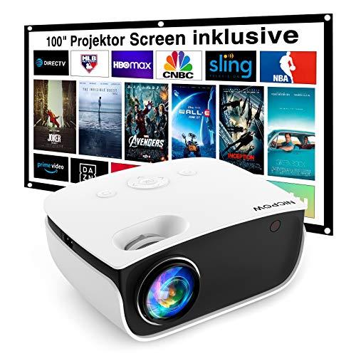 Mini Beamer 5500 Lumen, NICPOW Heimkino Beamer mit Screen, Support 1080P Full HD...