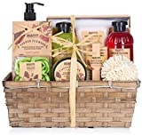 BRUBAKER Cosmetics bath and shower set poppy fragrance - 14-piece gift set in a plant basket - with ...