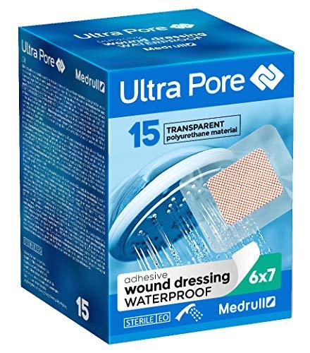 Medrull 75 Stück Wasserdicht Wundverband Transparent 7x6 cm ULTRA PORE Steril...
